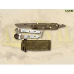 MILITARY multifunktsionaalne nuga söögiriistade ja vöökotiga