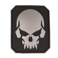 Must PVC 3D tunnussilt kolju sümboliga, takjapaelaga